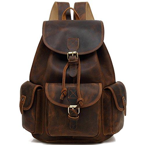 """Kenox 16"""" Genuine Leather Laptop Backpack Vintage College School Bookbag (Brown)"""