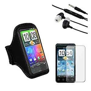 Skque Black Armband Holder Case + Headset w/mic + Clear Screen Protestor for HTC EVO 3D