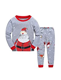 "kidsmall ""Santa Girls Boys Christmas Pajamas Kids Chirstmas Sleepwear Size 2T-7T"