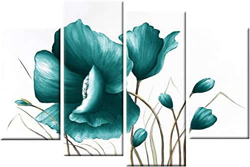 Grepova Art – Large Teal Floral 4 Panels Canvas Picture Modern Artwork Wall Art for Room Decoration, Framed and Stretched