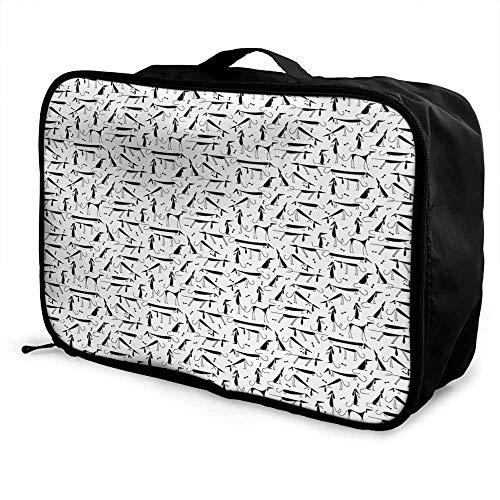 Dog Luggage trolley bag Dachshund Design Monochrome Animal Silhouette Abstract Cartoonish Bones Canine Pattern Waterproof Fashion Lightweight Black White