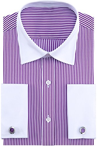 Alimens & Gentle French Cuff Regular Fit Contrast White Collar Dress Shirts,Purple Stripe,17