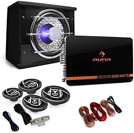 auna 4.1 Black Line 520 Car Stereo System /• Amplifier /• Subwoofer /• 1 x Amplifier /• 2 x 6.5 Speakers /• 2 x 4 Speakers /• 1 x Cable Set /• 5000W /• Light Effect /• Black//Silver