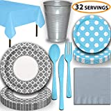 Disposable Tableware, 32 Sets - Silver and Powder Blue - Quatrefoil Dinner Plates, Dotted Dessert Plates, Cups, Lunch Napkins, Cutlery, and Tablecloths: Premium Quality Party Supplies Set