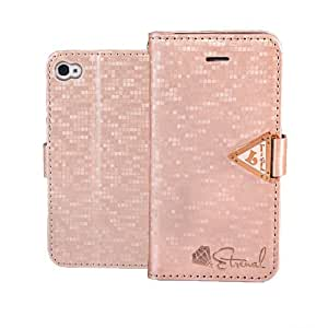 EVERGREENBUYING Case For Apple iPhone 4 4G 4S Leather Side Flip Wallet Card Holder Pouch Stand Back Cover Pink