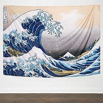 IcosaMro Wave Tapestry Wall Hanging - Kanagawa Wall Art [60x82.7&Hemmed Edges], Hokusai Ocean Sea Wall Blanket Japanese Home Decor for Bedroom College Dorm, The Great Wave Off Kanagawa