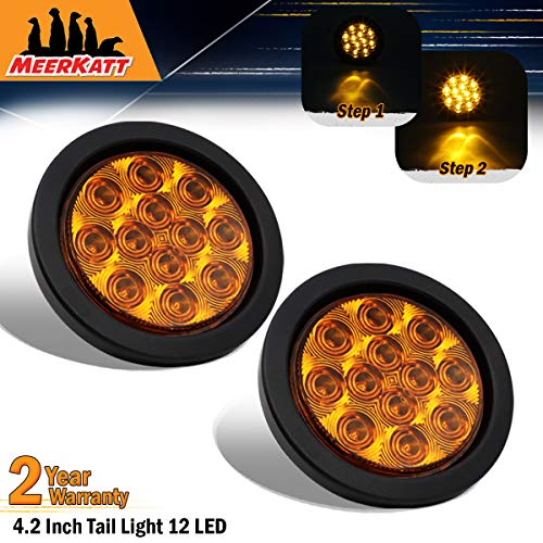 Meerkatt (Pack of 2) 4 Inch Round Amber 12 LED Indicator Clearance Lights Flush Mount Super Flex F3 Bulb w/Plug & Rubber Grommet Turn Tail Lamp SUV Truck Kenworth Trailer Lorry 12v DC Universal GA12 ()