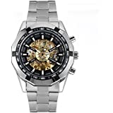 Avaner Mens Luxury Silver Stainless Steel Black Bezel Skeleton Round Dial Automatic Mechanical Wrist Watch