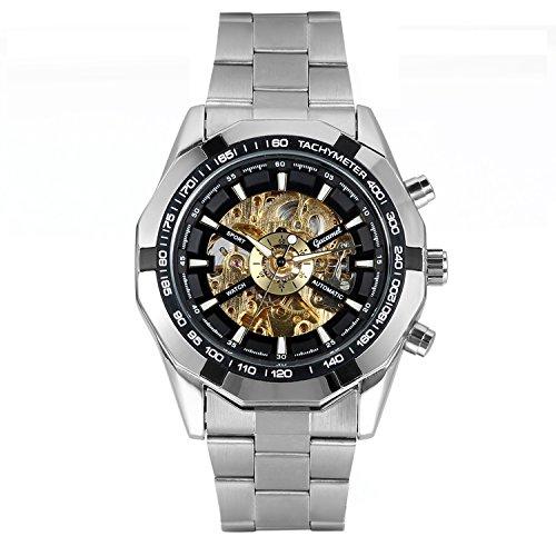 Avaner Mens Luxury Silver Stainless Steel Black Bezel Skeleton Round Dial Automatic Mechanical Wrist Watch Bezel Round Wrist Watch