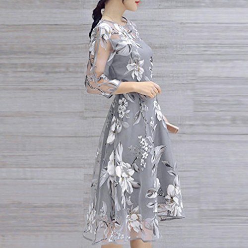 AIMTOPPY Women's Summer Three-quarter sleeves Organza Floral Print Wedding Party Ball Prom Gown Cocktail Dress (XL, Gray) by AIMTOPPY (Image #1)