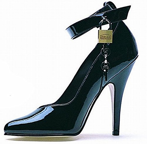 - Ellie Shoes Women's 5 Inch Heel Pump with Lock and Key (Black;9)