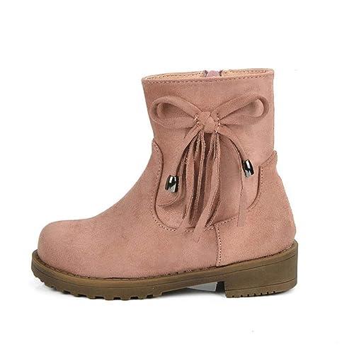 Niñas Botines niños Invierno cálido Felpa Nieve Botas Nudo Mariposa Zapatos de tacón bajo Ocasionales con Cremallera: Amazon.es: Zapatos y complementos
