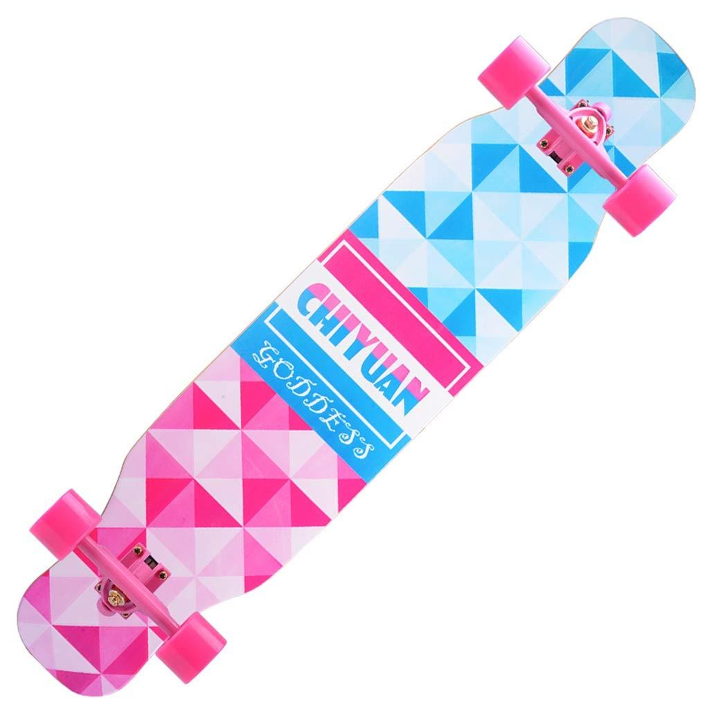 プロのスケートボードロングボードコンプリートスケートボード凹型デッキダブルキックテールユースに最適大人子供女の子男の子初心者 B