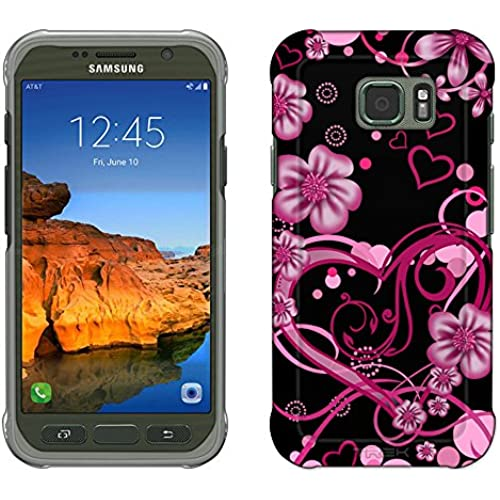 Samsung Galaxy S7 Active Case, Snap On Cover by Trek Sketch Hearts Pink on Black Slim Case Sales