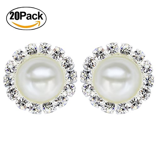 Wholesale 20 PCS Retro Vintage Round Crystal Ivory faux Pearl Rhinestone Buttons Bulk,18MM (FlatBack) (Round Tone Center)