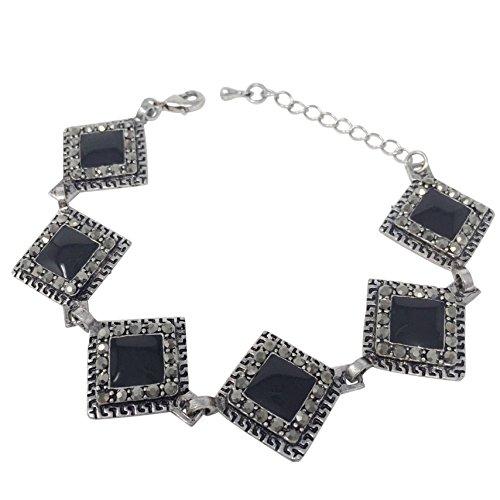 Gypsy Jewels Vintage Look Hematite Grey Rhinestone Silver Tone Unique Clasp Bracelet - Assorted Colors (Black Square) ()
