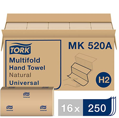 "Tork Universal MK520A Multifold Paper Hand Towel, 1-Ply, 9.125"" Width x 9.5"" Length, Natural, Green Seal Certified (Case of 16 Packs, 250 per Pack, 4,000 Towels)"