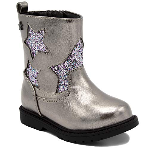 Naturino Express Kids NE Rosina Girls Shoe with Engraved Sequence Stars Zipper Mid Calf Boot Pewter 8 Toddler
