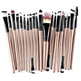 BCDshop 20 pcs Makeup Brushes Set Wool Make-up Toiletry Kit Professional Face Eyeliner Lips Blush Contour Foundation Cosmetic Brushes Set Tools (Gold 2)