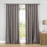 Home Maison Kiralee Embroidered Floral Pole Top Window Curtain Drapes for Bedroom, Livingroom, Kids Room, Children, Nursery-Assorted Colors-Set of 2 Panels, 38 x 84 Inch, Grey