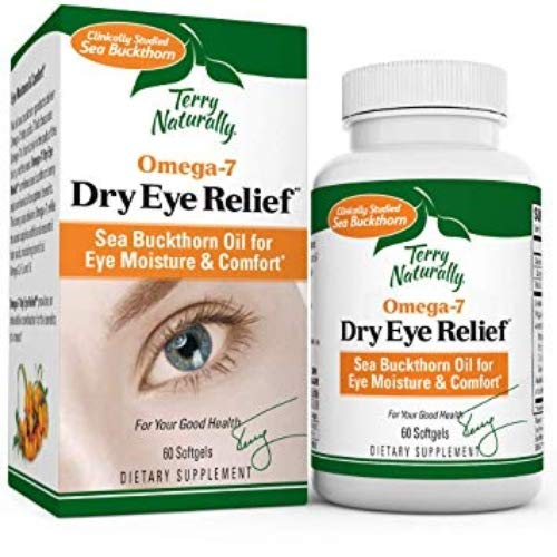 Terry Naturally Omega-7 Dry Eye Relief - 500 mg Sea Buckthorn, 60 Vegan Softgels - Eye Moisture Support Supplement, with Omegas 7, 9, 6 & 3 - Non-GMO, Gluten-Free - 60 Servings (Best Supplements For Dry Eyes)