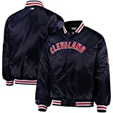 VF Cleveland Indians MLB Majestic Mens Navy Blue Satin Jacket Big & Tall Sizes