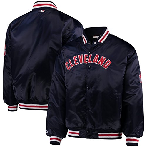 VF Cleveland Indians MLB Majestic Mens Navy Blue Satin Jacket Big & Tall Sizes (4XT)