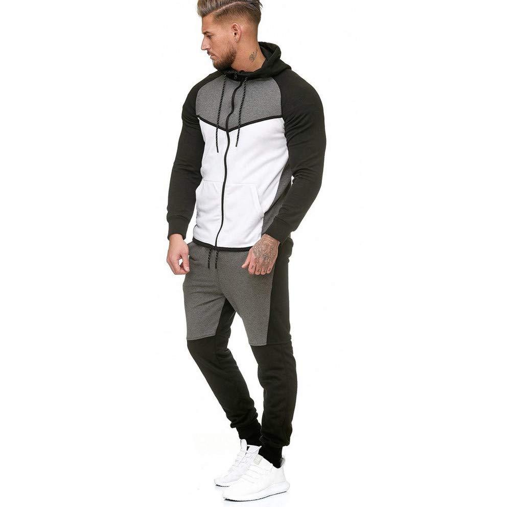 Fxbar,Men's Sweatshirt Patchwork Top Pants Sets Sports Suit Winter Jackets(White,XXXL) by Fxbar