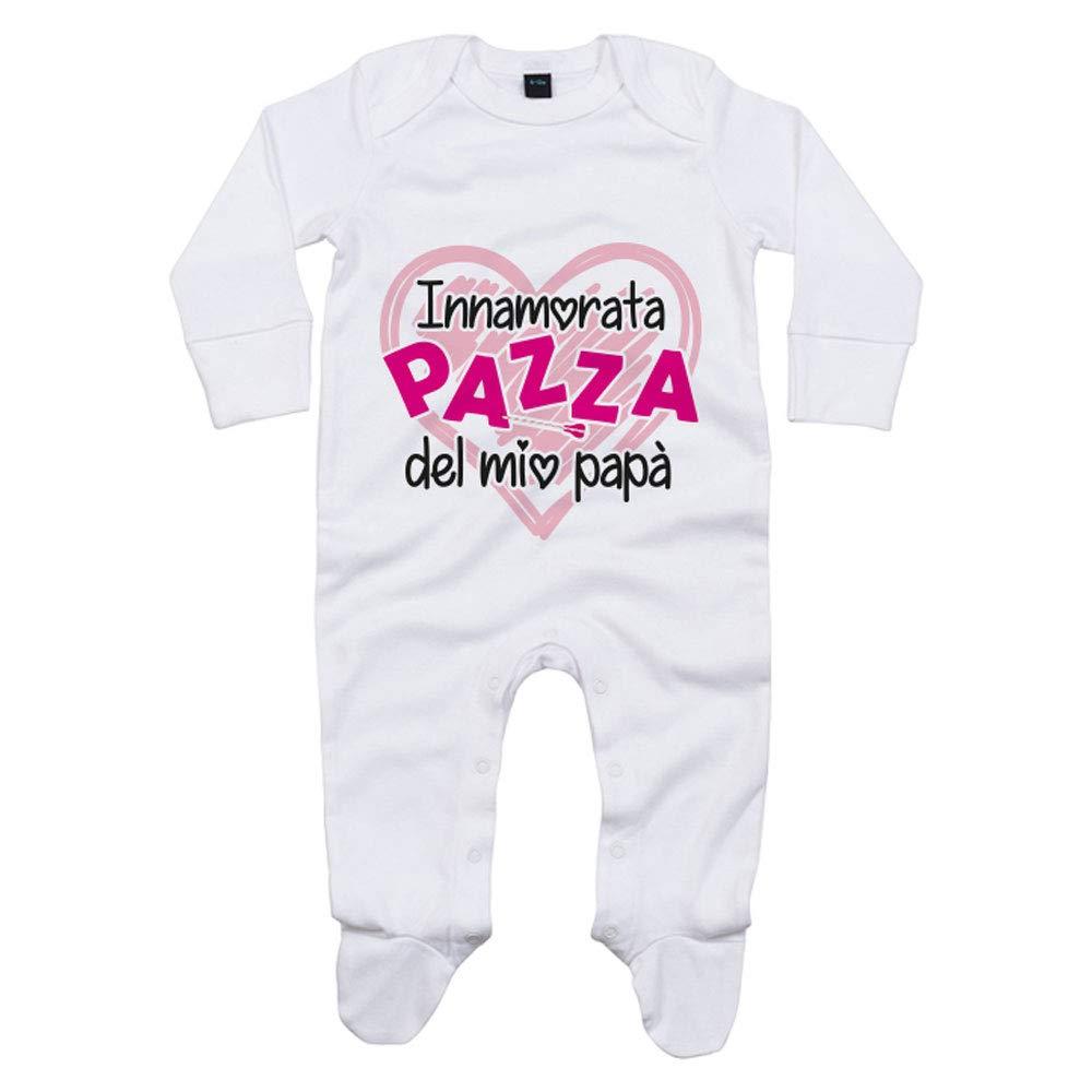 Foto Pariando Tutina neonata con Maniche Lunghe e Piedini in Cotone Biologico innamorata Pazza del Mio pap/à