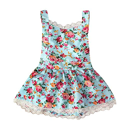Zlolia Baby Girl Floral Print Princess Dress Cross Interleaved Backless A-Line Skirt Baby Girl Summer Cool Clothing Blue