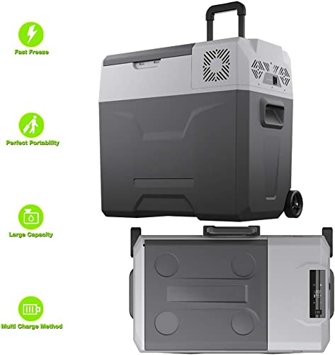 TechClic Portable Cooler Freezer Refrigerator Cooler AC DC Compressor Electric Cooler Trolley Wheels for Truck RV Boat Party Travel Picnic Outdoor Camping