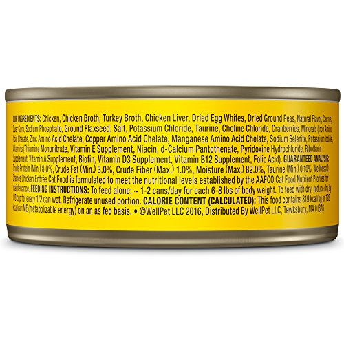 Wellness Complete Health Natural Grain Free Wet Canned Cat Food, Gravies Chicken Entrée, 5.5-Ounce Can (Pack Of 12)