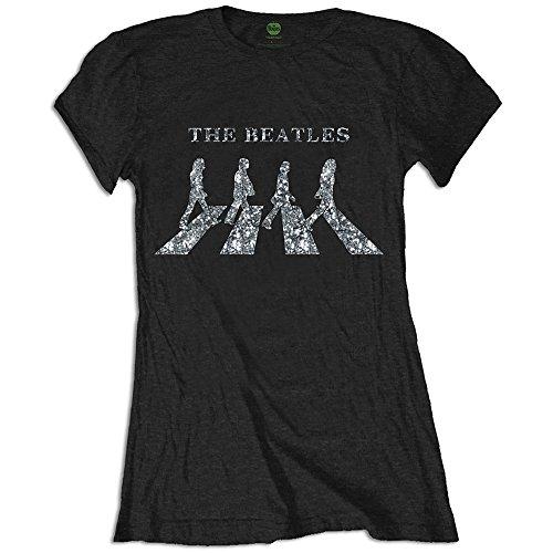 Les Beatles Womens Dames Noir T-Shirt De Cristaux Diamant Abbey Road Officielle - XXL