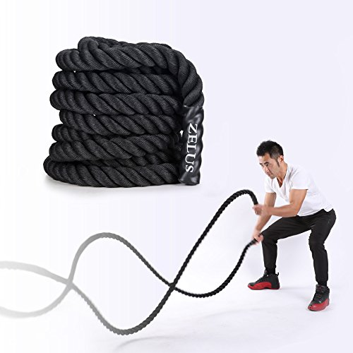 ZELUS Pure Poly Dacron Battle Ropes for Strength and Conditioning Workouts (2' 40ft)