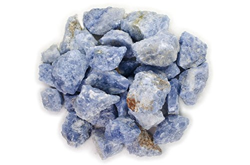 Hypnotic Gems Materials: 1/2 lb Bulk Rough Blue Calcite Stones from Madagascar - Raw Natural Crystals for Cabbing, Cutting, Lapidary, Tumbling, Polishing, Wire Wrapping, Wicca & Reiki Crystal Healing