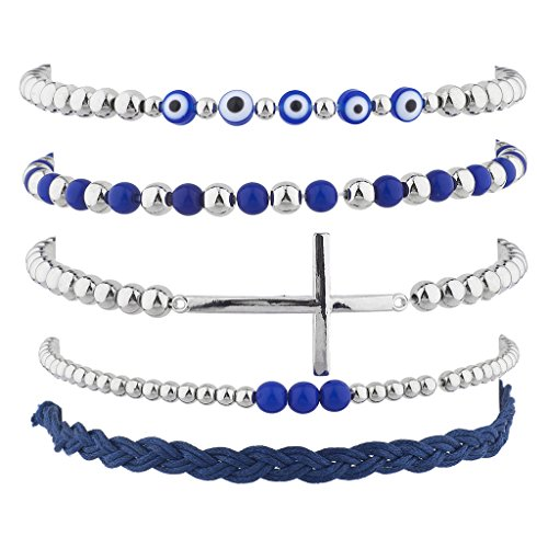 Lux Accessories Silver Tone Blue Evil Eye Cross Suede Arm Candy Bracelet Set 5pc ()