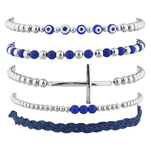 Lux Accessories Silver Tone Blue Evil Eye CrossSuedeArm Candy Bracelet Set5pc