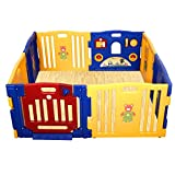 Costzon Baby Play Pen Kids Safety Playpen Activity Center (8 - Panel with Mats)