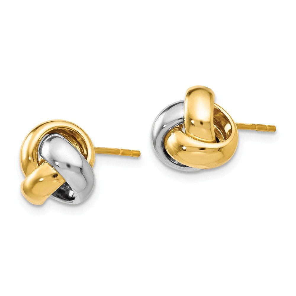FB Jewels Solid Leslies 14K White And Yellow Two Tone Gold Polished Love Knot Earrings