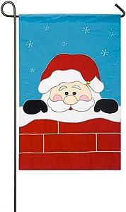 Peek-A-Boo Santa Applique Garden Flag