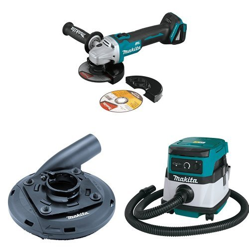 Makita XAG09Z 18V LXT Brushless 4-1/2-Inch - 5-Inch Cut-Off/Angle Grinder (Tool Only), 195236-5 Surface Grinding Shroud, XCV04Z 18V X2 LXT (36V) 2.1 Gallon HEPA Filter Dry Dust Extractor/Vacuum