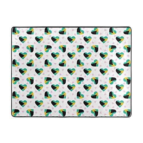 Home Mat Bahamas Flag Heart Pattern Waterproof Coral Wool Room Mat