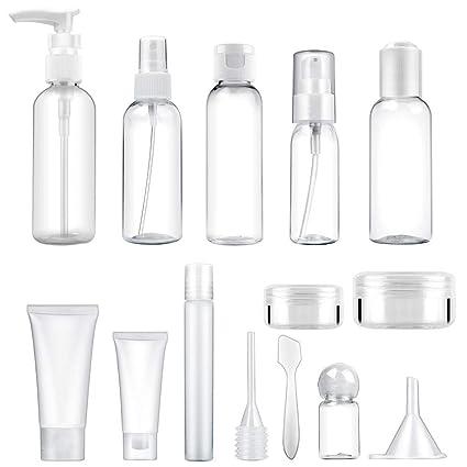 MYLL 14 Pièces Flacons Vide Kit Voyage Avion (Max.100ml) | Contenant Cosmetique Vide / Bouteille Plastique avec Trousses de Toilette - pour Shampooing et Spray (Transparent)