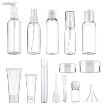 49a4ed4238ed 14 Pcs Empty Travel Bottle Toiletry Set (Max. 100ml) Leak Proof   Plastic  Travel Size Refillable Containers...