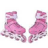 Zeela Kids 2 in 1 Inline/Roller Skates for Girls and Boys, Adjustable Inliner Roller Blades Quad Skates, Blue Pink Inline Skates