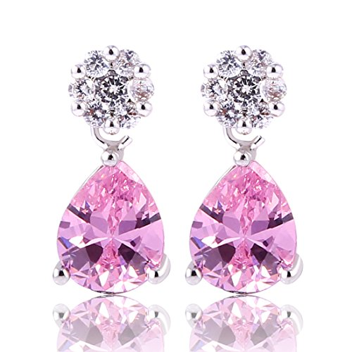 GULICX Silver Plated Base jewlery Created Pink sapphire design lady Wedding Dangle Stud earring (Created Diamond Earings)