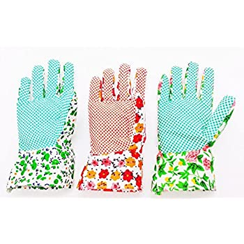 YSLON Gardening Gloves For Woman(3 Pairs),Comfortable Breathable Non Slip  Flexible.