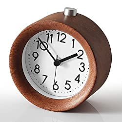 topbrighttrade Small Wooden Silent Lazy Bedside Clock, Creative Handmade Wooden Alarm Clock for Home Office Living Room Bedroom Deco (walnut)