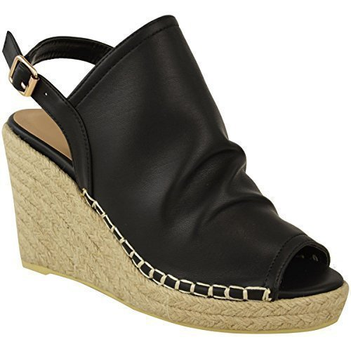 Fashion Thirsty New Womens Ladies Espadrille Wedge Sandals Platforms Low Heels Summer Shoes Size Black Soft Faux Leather iP6I3pOd8