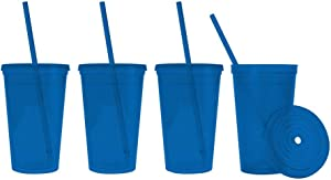 Made in the USA, 16 oz. Double Wall Insulated Plastic Tumblers with Lid and Straws, Set of 4 - Translucent Blue